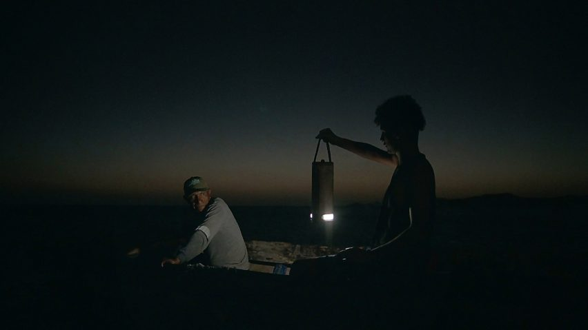 Lamp powered by salt water used for night fishing
