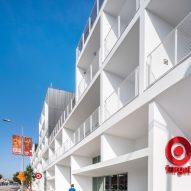 White balconies line Santa Monica Boulevard