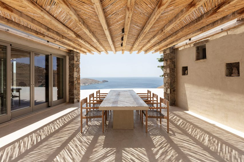 Terrace of Xerolithi house by Sinas Architects