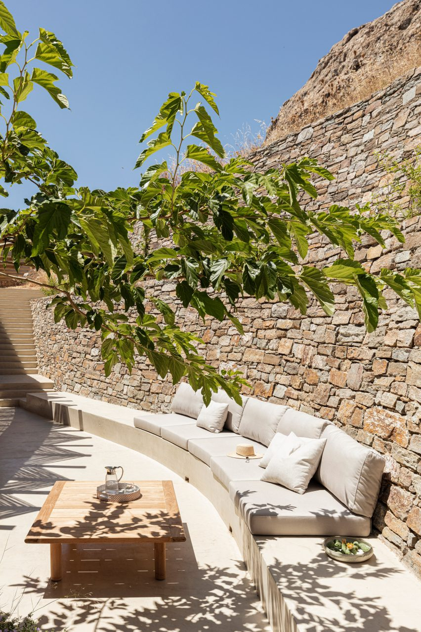 Rear terrace of Xerolithi house by Sinas Architects