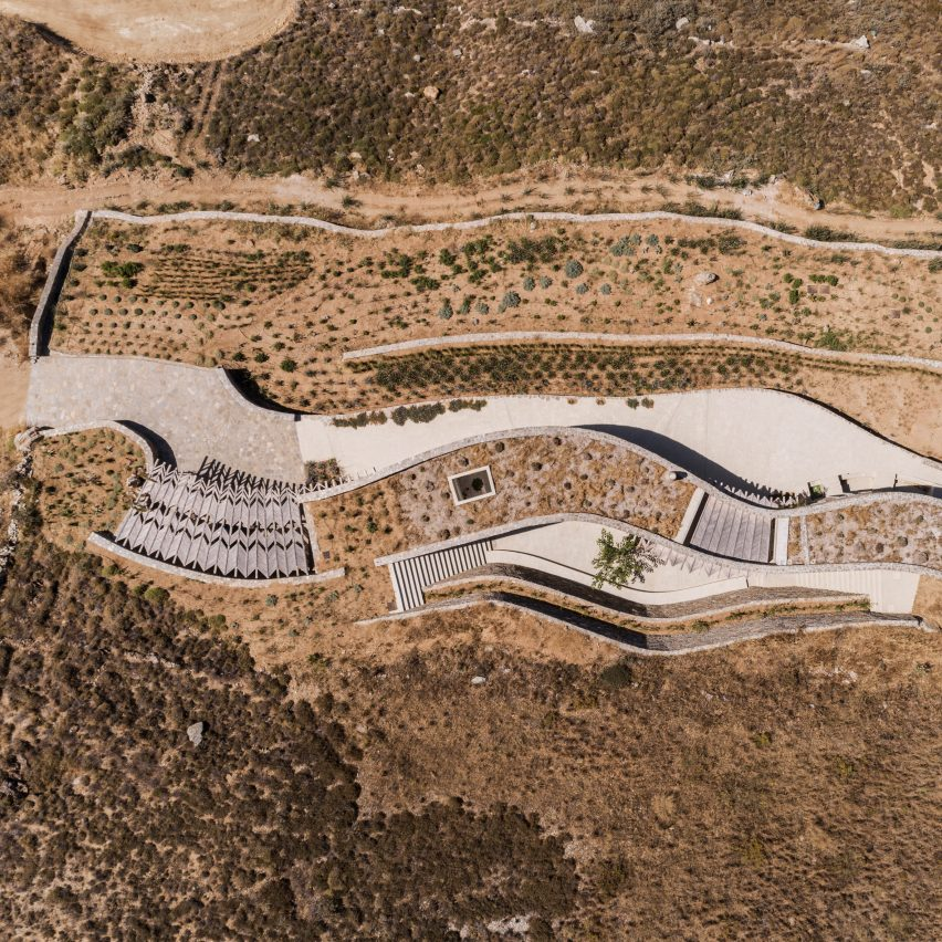Aerial view of Xerolithi house by Sinas Architects
