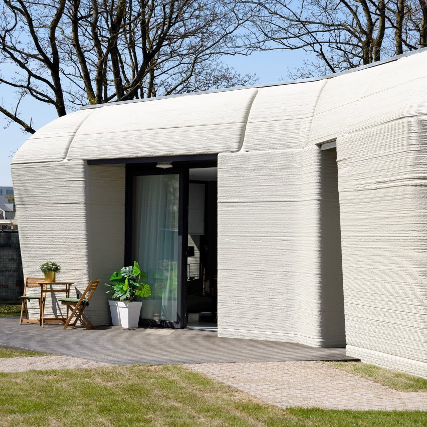 The home was 3D-printed using concrete