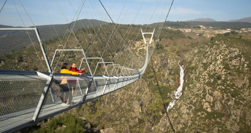 The 516 Arouca bridge is supported by tensile cables