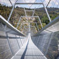 The bridge has gridded walkways