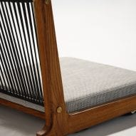 Woven leather and cotton cord backrest