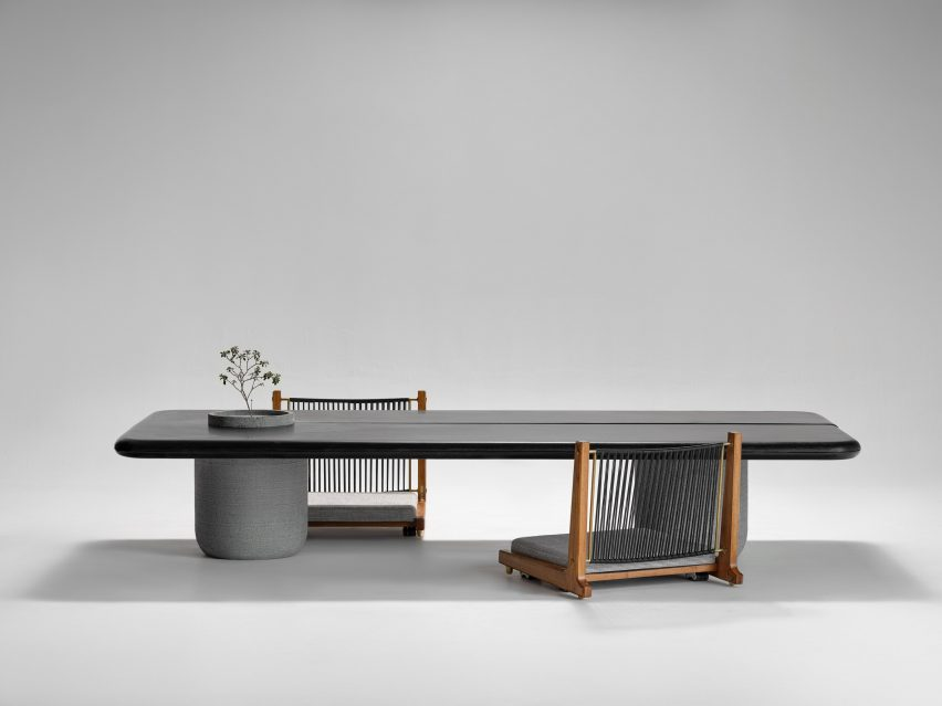 Aayutha dining table and Kelir chair by Amitha Madan and Agrim Singhal for Magari