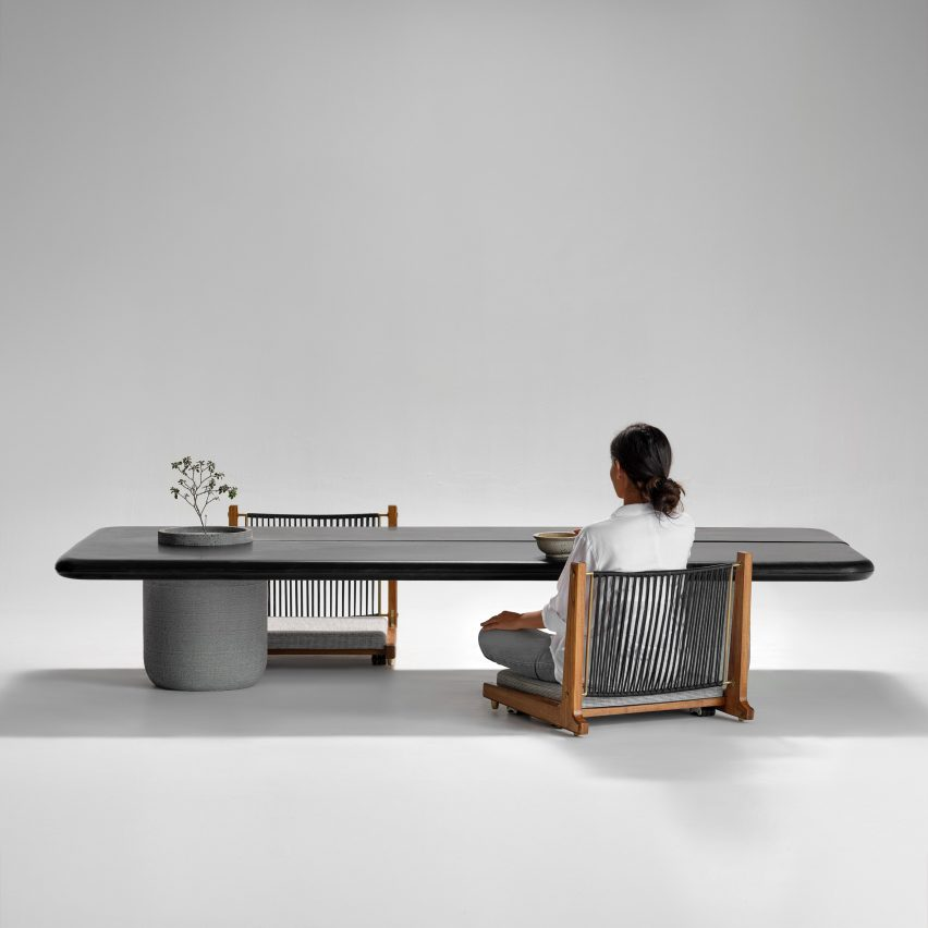 Aayutha low dining table with Kelir chairs by Magari