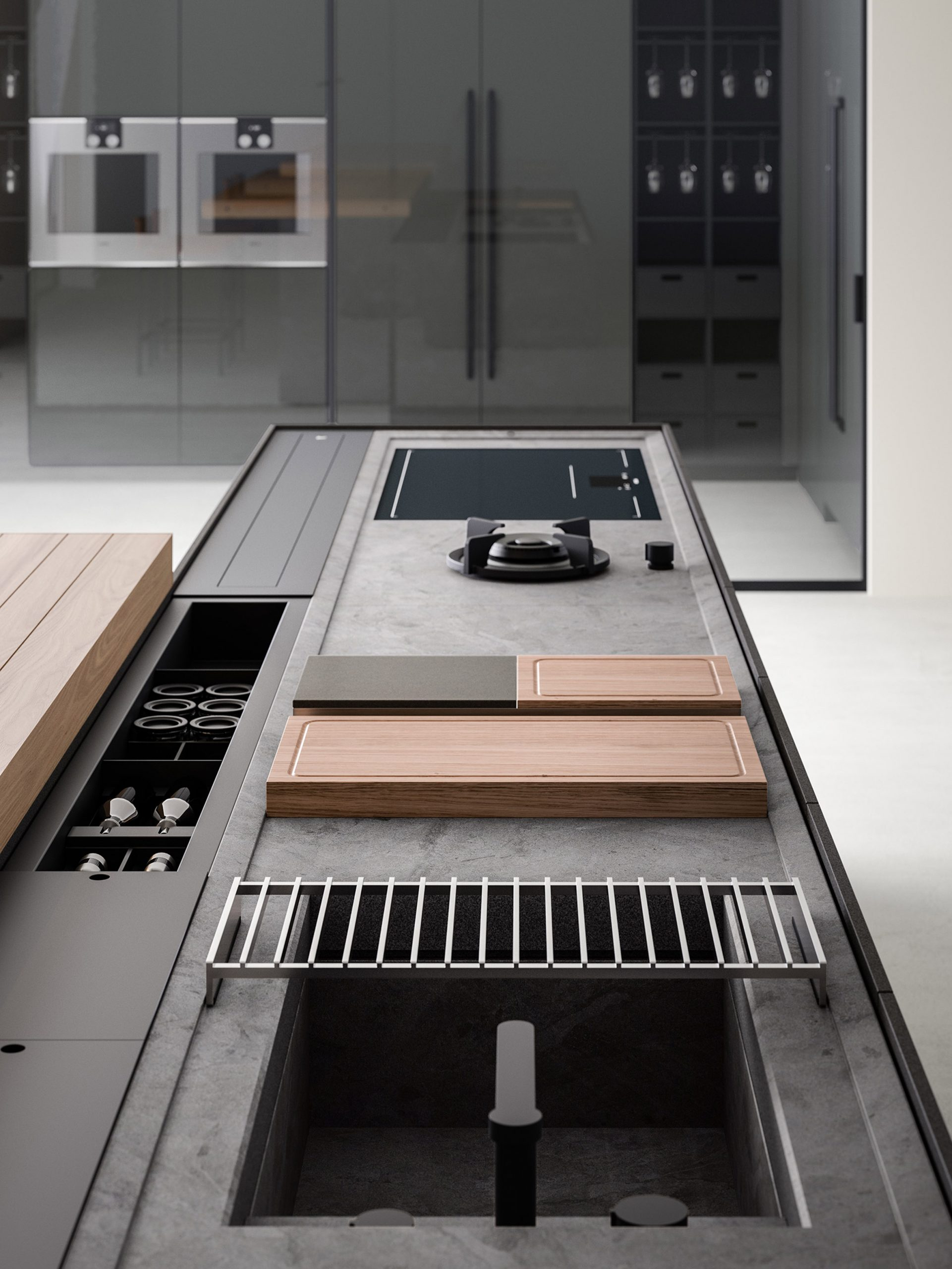 Integrated Inside System storage compartments on a kitchen island