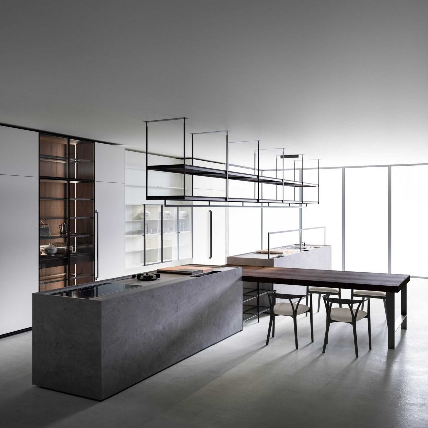 Boffi Combine Evolution kitchen with connected dining table