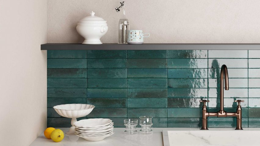 Turquoise tiled wall around a sink