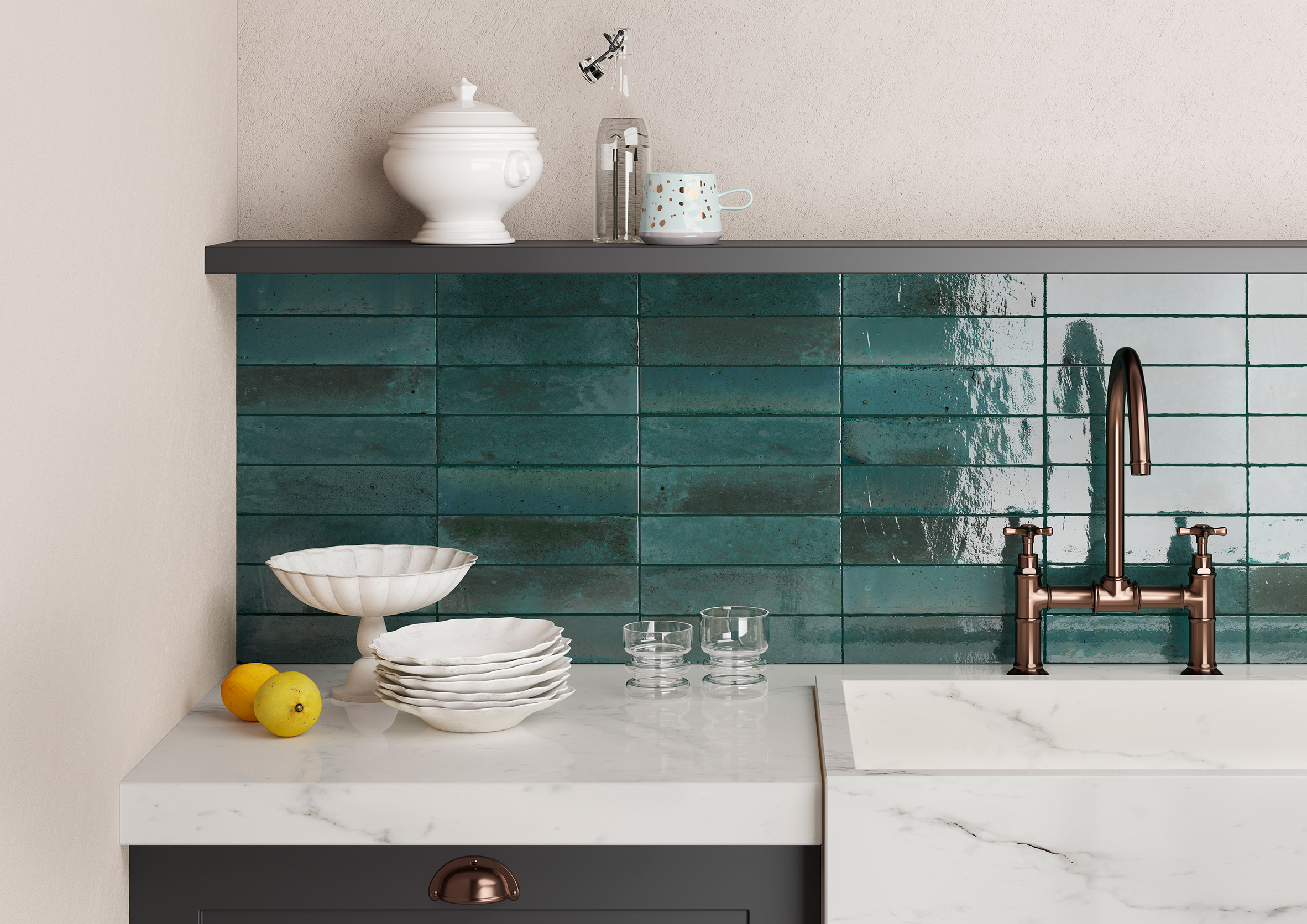 The Crogiolo Lume tile range is based on majolica tiles from the Mediterranean