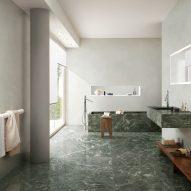 Green marble-look tiles in a bathroom