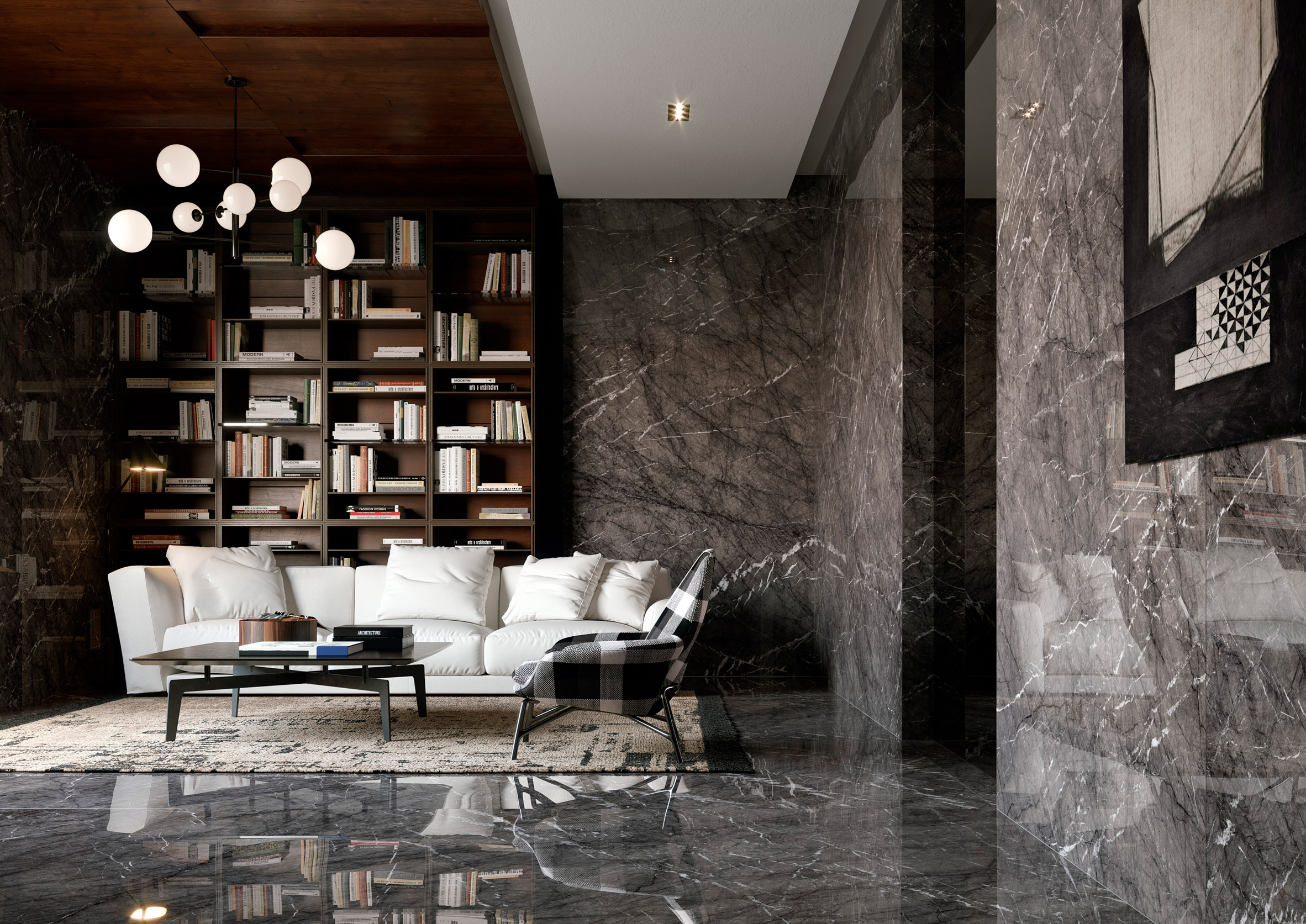 Luxurious living room with dark marble