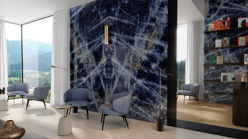 Blue marble-style wall tiles from Grand Marble Look collection in an interior