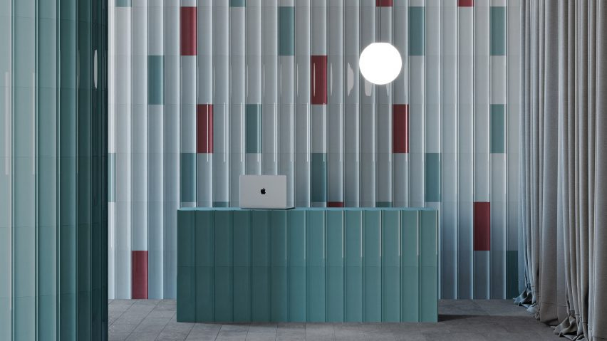 Matt and glossy tiles in blue and red by Harmony and MUT design