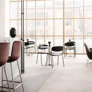 Cafe with minimalist Danish chairs