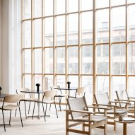 Light and minimalist cafe environment featuring Danish design