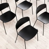 Black chairs in rows