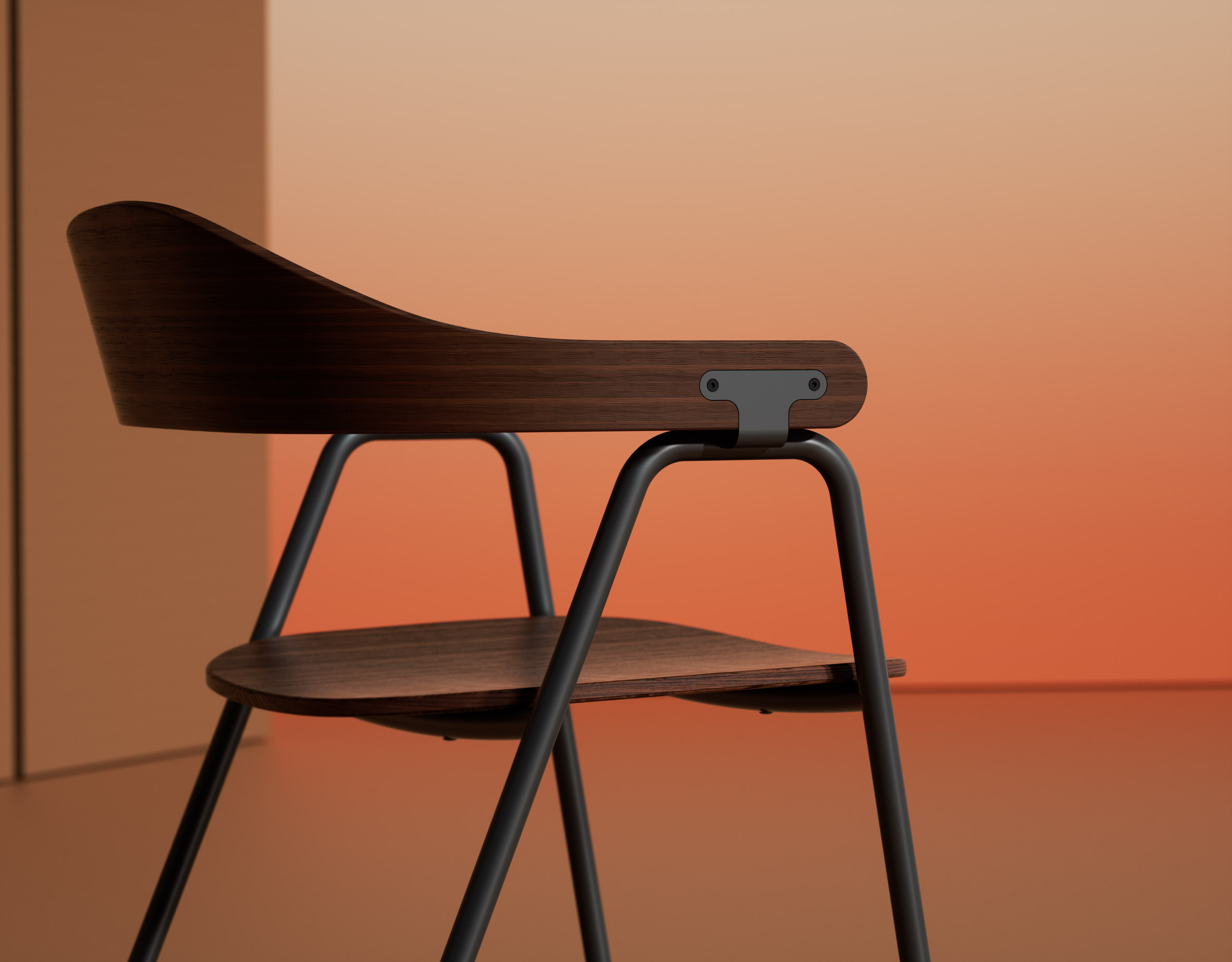 Otto chair by Alejandro Villareal for Hayche in walnut and black