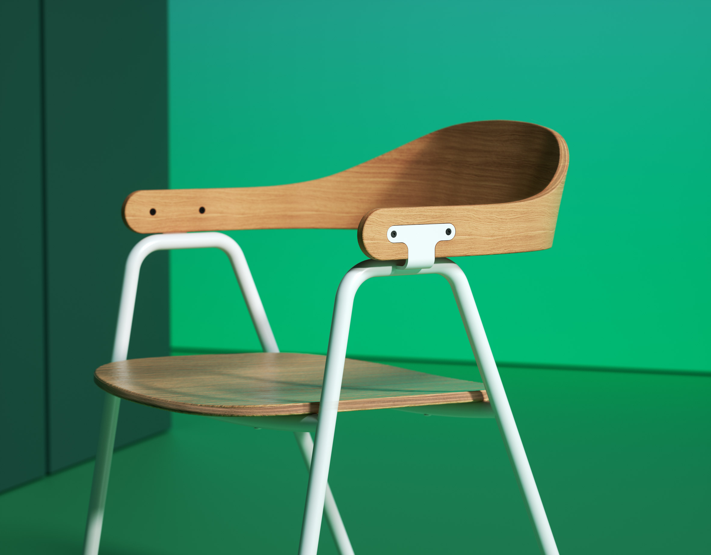 Otto chair by Alejandro Villareal for Hayche in white and oak