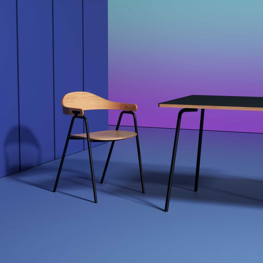 Otto chair by Alejandro Villareal for Hayche in oak and black