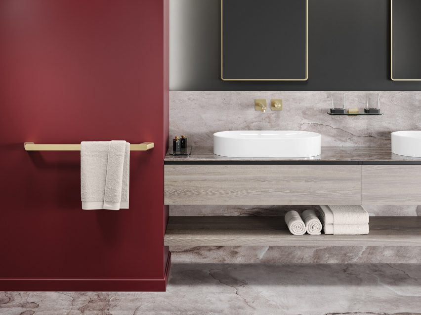 Hotel bathroom with brushed gold accessories