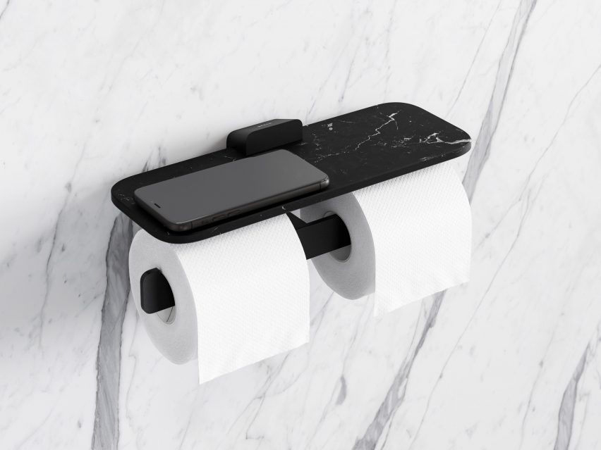 Marble shelf on a Geesa double toilet roll holder