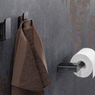 Brushed metal black bathroom accessories