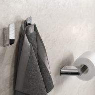 Chrome finish patterned towel hooks
