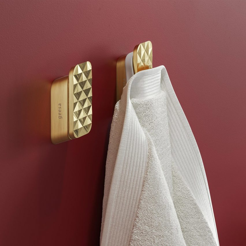 Gold towel hook with 3D pattern