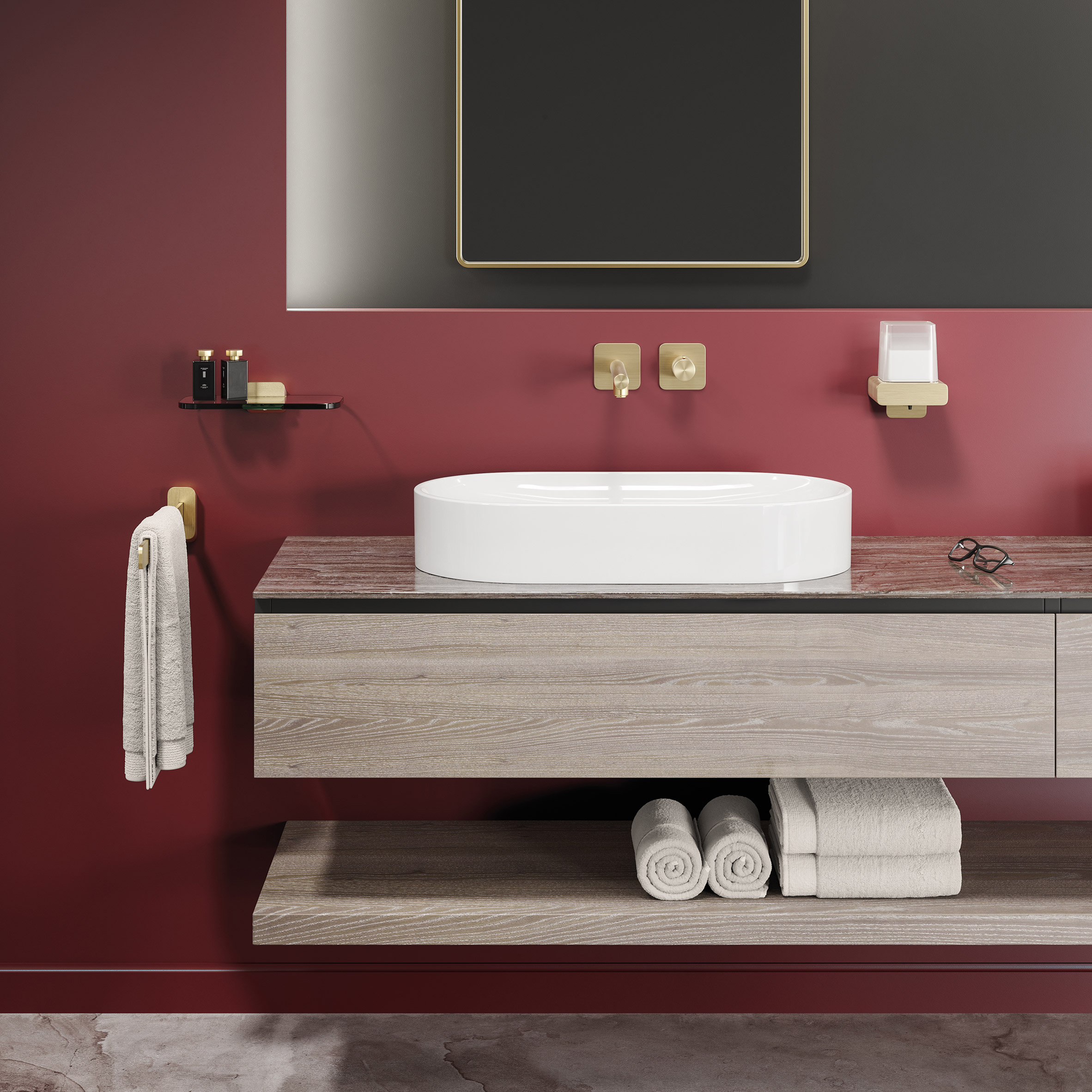 Bathroom with Geesa Shift accessories in brushed gold