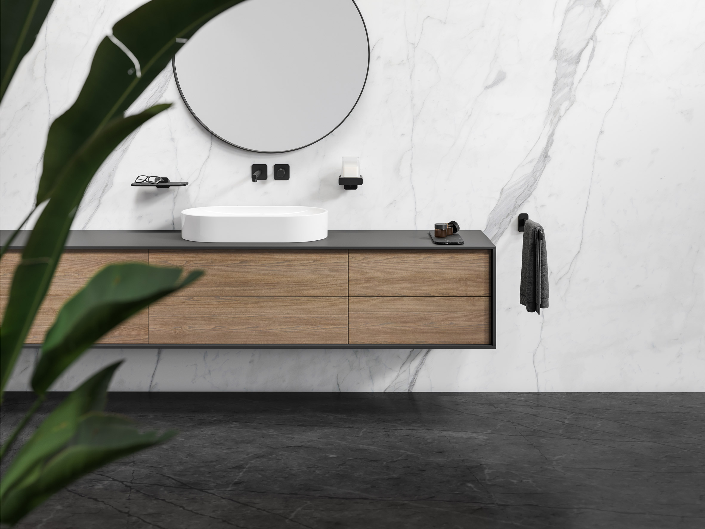 Black 45-centimetre towel rail by Geesa in elegant bathroom