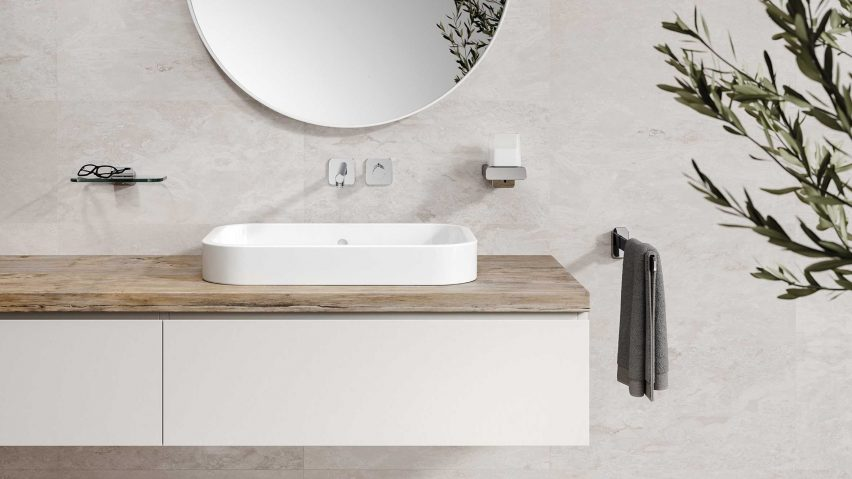 Bathroom with Geesa Shift accessories in chrome