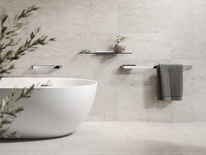 Luxurious bathroom with chrome towel rails