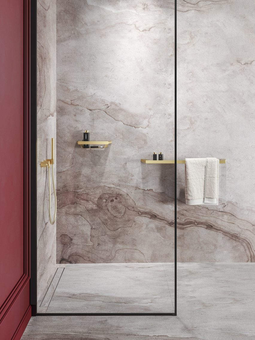 Luxurious bathroom with brushed gold accessories