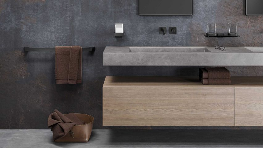 Bathroom sink with black Geesa Shift 60-centimetre towel rail