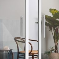 White frame on glass door