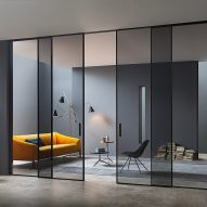 Sliding glass doors with grey translucent glass
