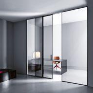 Shoin glass sliding doors across a home office