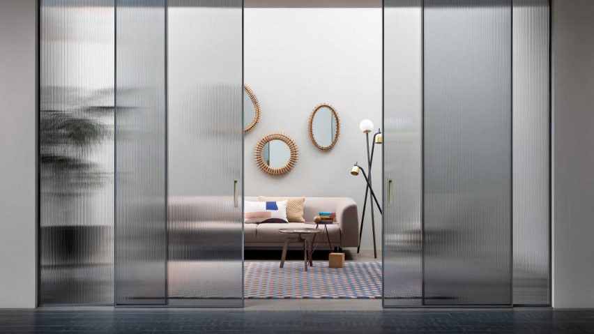 Shoin sliding doors across a contemporary living room