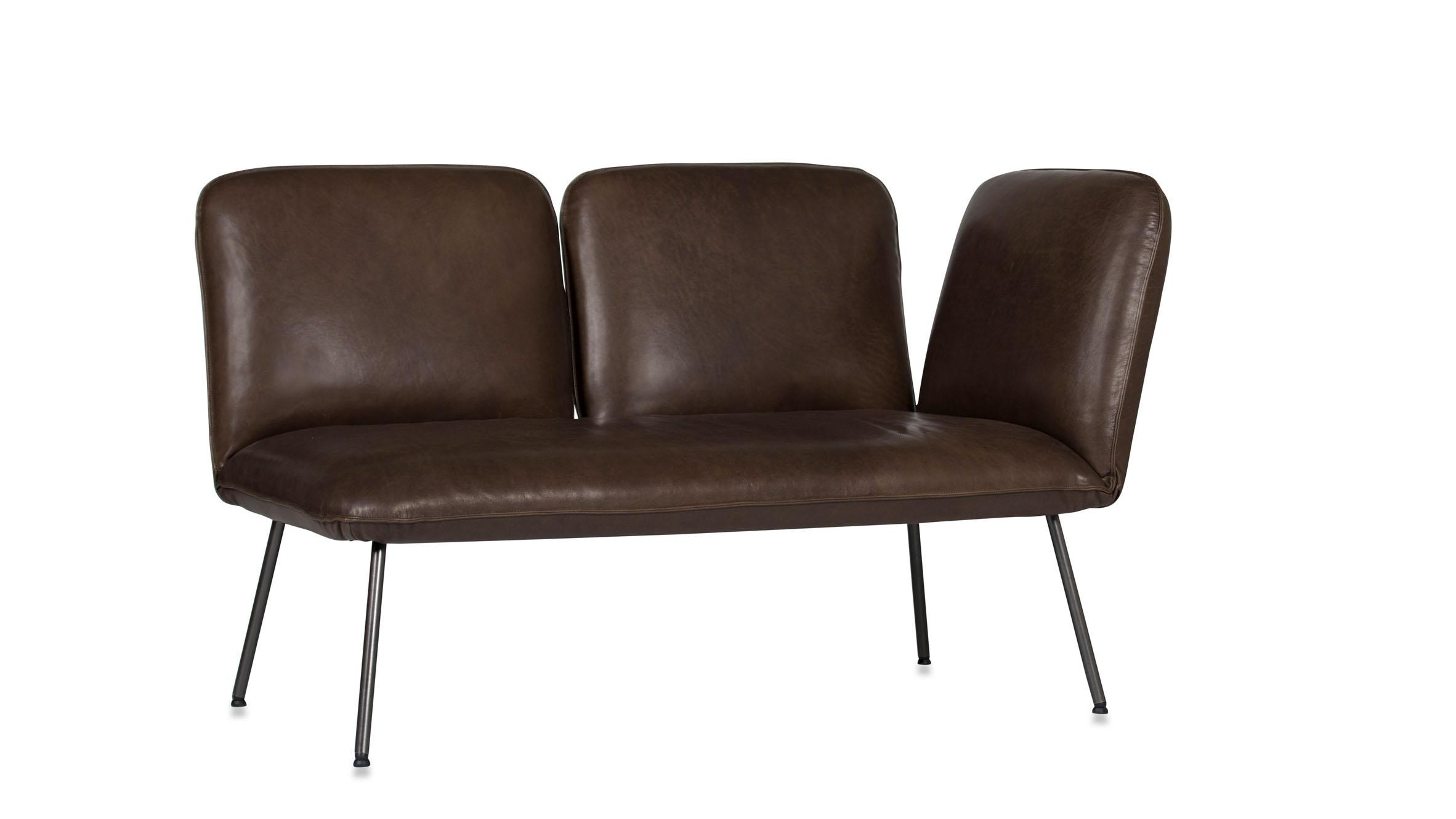 Shuffle sofa in brown leather