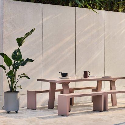Trestle outdoor table by Jennifer Newman Studio