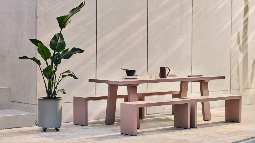 Trestle outdoor table by Jennifer Newman Studio