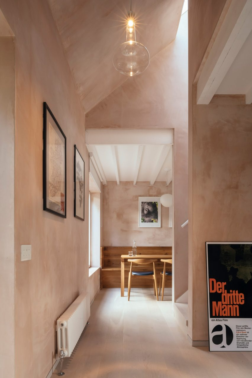 Renovation of the town hall with pink plaster walls