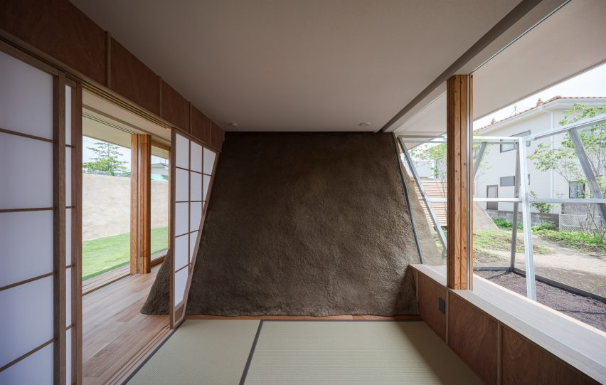 Japanese house with soil wall
