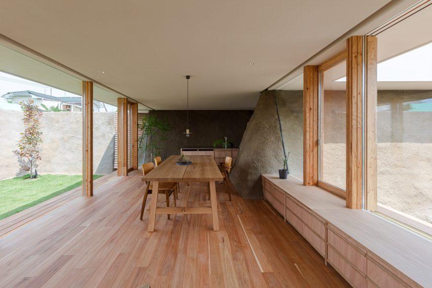 Dining room in Soil House in Minamisoma Japan