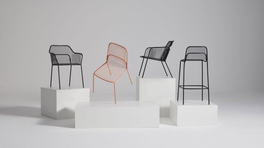 Black and orange Crop outdoor chairs by Benjamin Hubert for Allermuir