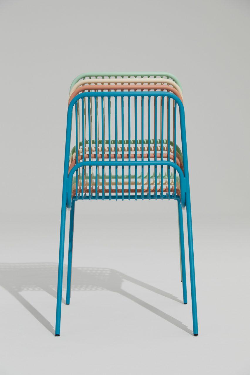 Stacked Crop outdoor chairs by Benjamin Hubert