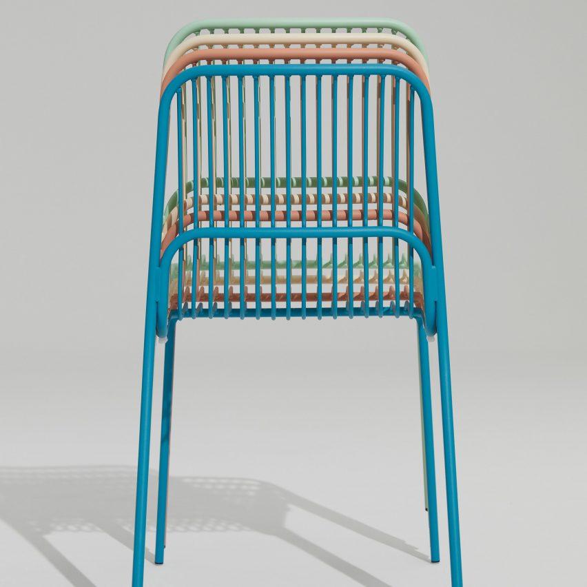 Multicoloured Crop outdoor chairs by Benjamin Hubert for Allermuir