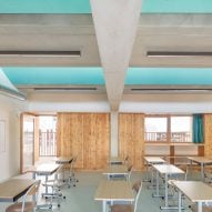 Formal teaching spaces have wood panelled walls